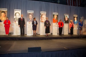The inaugural class of the Starr Women's Hall of Fame at the University of Missouri-Kansas City was inducted on Friday, March 13, 2015. Inductee Marjorie Powell Allen is pictured far right.